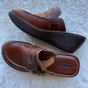 Born Brown Leather Wedge Clog/Mule Slip On Shoes